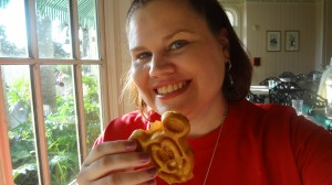 Fueling up on Mickey waffles before I take on the Magic Kingdom!