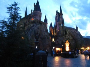 Hogwarts Castle in the evening and the gateway to the Forbidden Journey