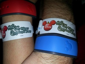 My husband and I loving our MagicBands during Mickey's Very Merry Christmas Party!