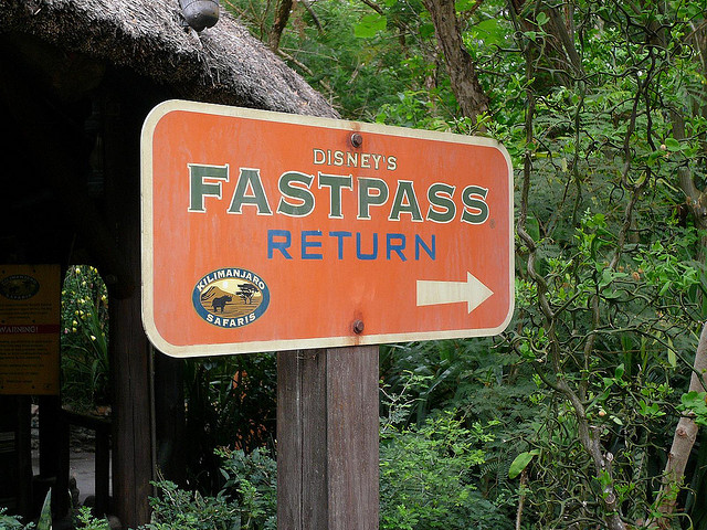 Fast Pass Return Sign at Kilimanjaro Safari at Disney's Animal Kingdo