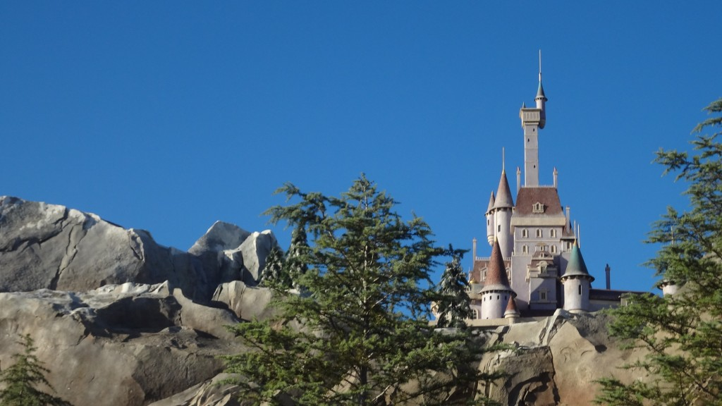 Beast's Castle atop a distant cliff
