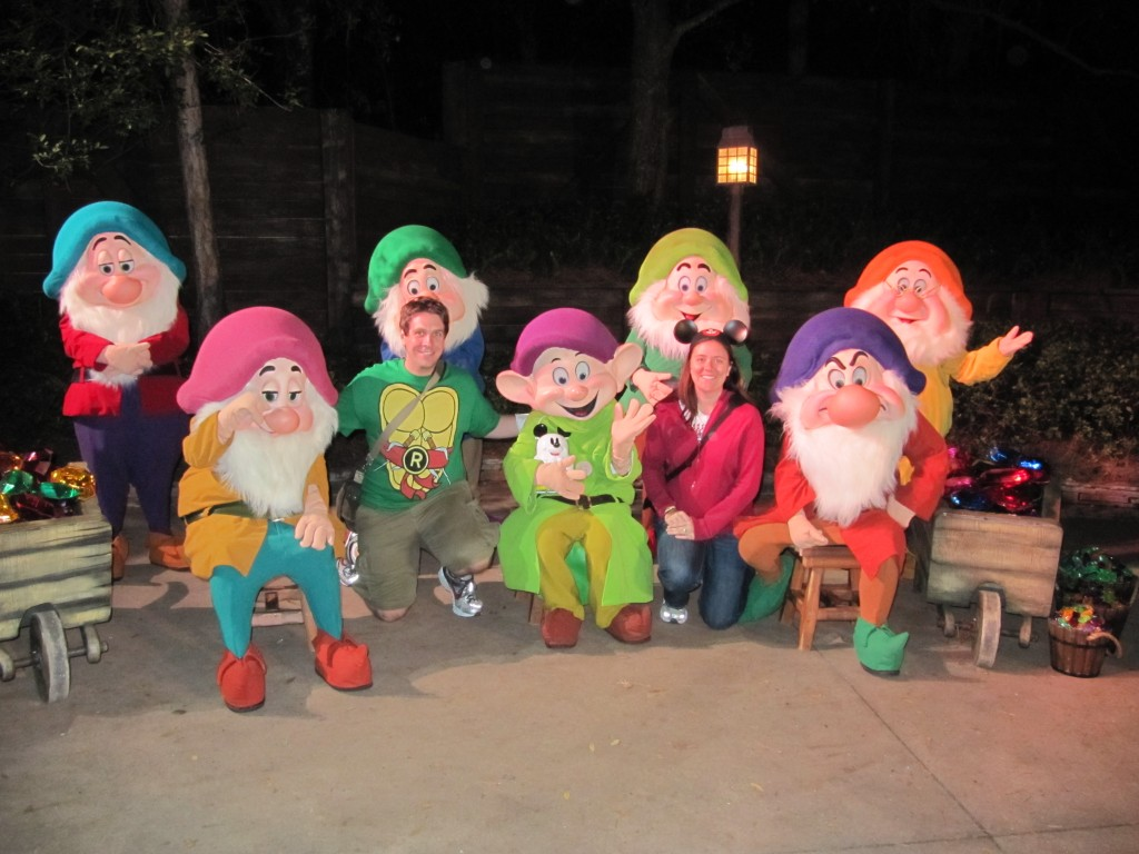 From Left to Right: Bashful, Sleepy, Raphael, Sneezy, Dopey, Happy, Heather, Grump, and Doc